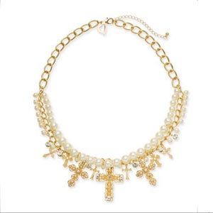 Gold-Tone Imitation Pearl Cross Statement Necklace